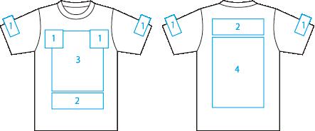 Tシャツプリント位置例